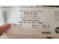 2 x SEATED TICKETS FOR KINGS OF LEON IN MANCHESTER- SELLING FOR FACE VALUE