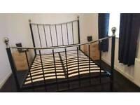 Kingsize chrome/black metal bed frame, pick up Saltcoats