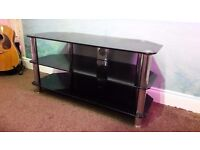 TV Corner Unit / Stand - Black Glass