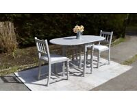 Pretty, Vintage Dining Table & 2 Chairs. Shabby Chic, Paris Grey. Delivery Available.