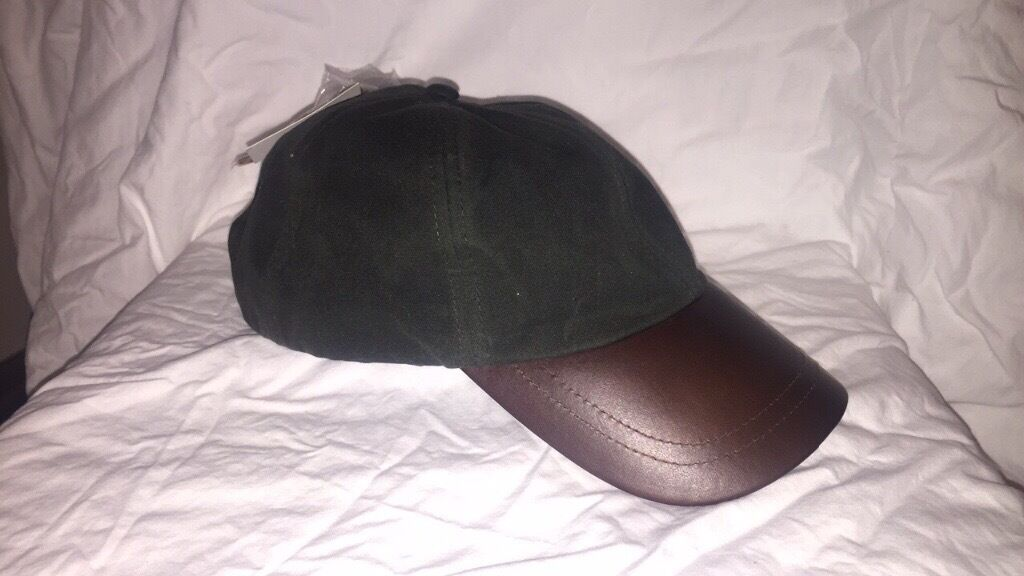 wax cotton baseball cap barbour sports unisex genuine leather never worn colour olive waterproof waxed
