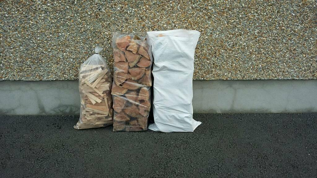 Seasoned firewood logs and kindling firelighters for sale