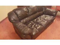 Free 3 seater black leather sofa
