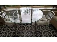 ROUND GLASS TABLE ON POWDER COATED BASE