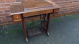 vintage retro Singer sewing machine on cast iron base dressing table project
