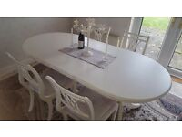 French Shabby Shic Extendable Oval Table with 4 x Chairs