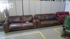 PRE OWNED 2 x Sofas in Brown Leather