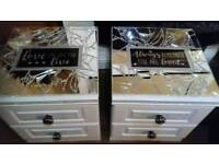 Broken mirror glitter grouted thoughtful quotes bedside drawers