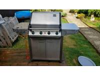 Gas BBQ Grill and side burner with bottle