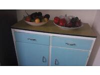 Retro 1950's Turquoise and Yellow Kitchen Larder Cabinet Kitsch Dresser Base