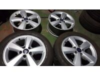 "16"" ford alloy wheels + 2 tyres 205/55/16"