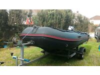 Inflatable Rib, 3.8 mtr, 4 piece aluminium floor. mariner 6hp 4 stroke outboard with road trailer