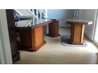 Solid Wood Glass Top Coffee Table Set