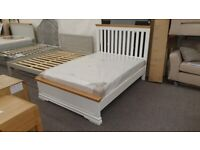 Oak & White Double Bed Frame ( BED ONLY) Can Deliver