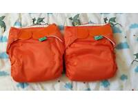 2 X Totsbots Easyfit Orange NEW & UNUSED Reusable Nappies. Bundle of 2