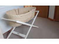 Mamas and Papas wicker Moses basket and stand