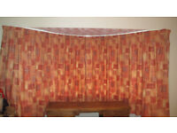 """HUGE BAY WINDOW CURTAINS HIGH QUALITY FULLY LINED COST £650 60"""" H x 105"""" W EACH"""