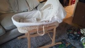 Mothercare moses basket, and stand.
