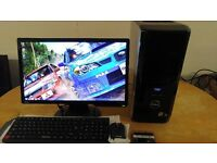 "WOW Gaming Dell XPS 430 Quad Core Gaming Desktop Computer PC With Benq 22"" Widescreen"