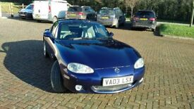 Mazda MX5 Nevada cosmos blue, roll bars, partial service history, 6 months MOT, new discs and pads