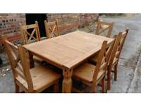SOLID WOOD DINING TABLE AND 6 CHAIRS GOOD CONDITION FREE LOCAL DELIVERY