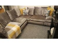 siliver crushed velvet sofa