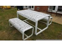 White Metal Garden Table and Benches