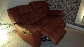 Electric Reclining Sofa (Terracotta) 2 seater