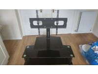 Black glass and metal Cantilever TV Stand