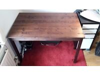 Lovely solid pine dining table or desk with dark antique style stain