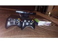 250GB Xbox 360 with kinect and 4 games