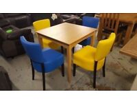 New 2 BLUE & 2 YELLOW FAUX LEATHER MEMPHIS DINING CHAIRS **TABLE SOLD SEPARATELY** CAN DELIVER