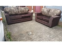 BUY THE KENT REVERSO 3+2 IN BROWN / GOLD FLORAL CUSHION 3 SEATER £399 GET 2 SEATER FREE !!