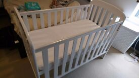 Kiddicare Anna Cot (white with dropside) + mattress 120x60cm; great condition