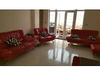 Genuine red leather sofa set