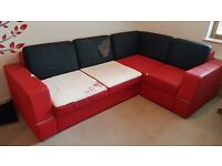 Eco leather corner sofa (double bed) with storage