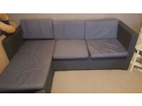 Rattan Effect Mini corner sofa-Graphite