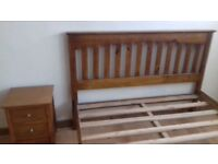 King Size Bed with matching bedside cabinet and chest of drawers