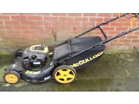 McCulock self propeled petrol lawn mower 12mths old 53cm cut large grass box