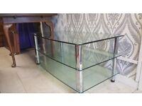 Large Chrome & Glass TV Unit