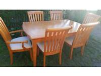Large Traditional Oak Extending Dining Table and Chairs