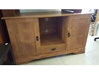 Pine TV Unit with Storage Good Condition