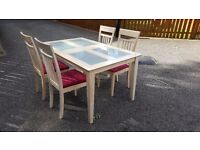 Dining Table with Glass Inserts & 4 Chairs FREE DELIVERY (02895)