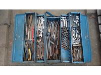 Old Tool Box full of alsorts sockets spanners allen keys