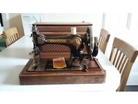 Vintage hand crank sewing machine