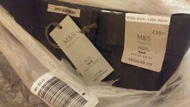 Marks & Spencer M&S COLLECTION Super Lightweight Regular Fit Chinos Trousers 32 inch Charcoal
