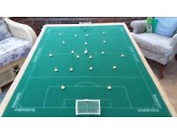 Subbuteo table football pitch mounted on board, with two teams ready for play!