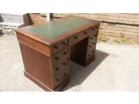 Antique Victorian Leather and Mahogany writing desk
