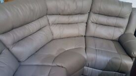 Real leather grey corner reclining sofa + arm chair