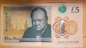 £5 Note - AA01 - 596000